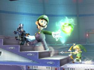 Heh, Luigi is giant, so now TLink & Wolf team against him.